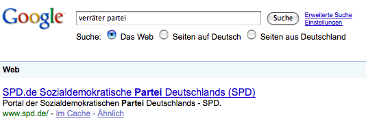 Google: Verbrecher Partei SPD